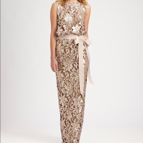 Tadashi Shoji Dresses   Metallic Gown Sequin Lace   Poshmark